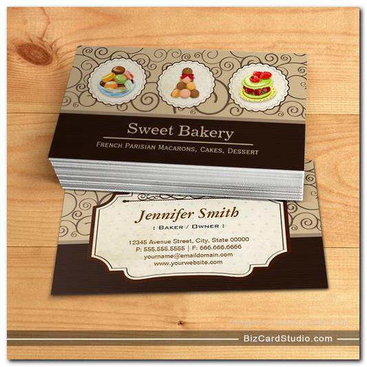 Custom French Parisian Macarons Dessert Bake Store Business Card Templates