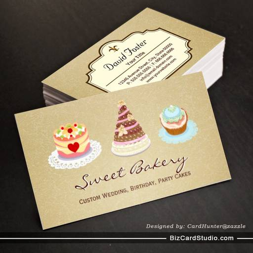 Custom wedding birthday party cakes bakery store business cards reheart Image collections