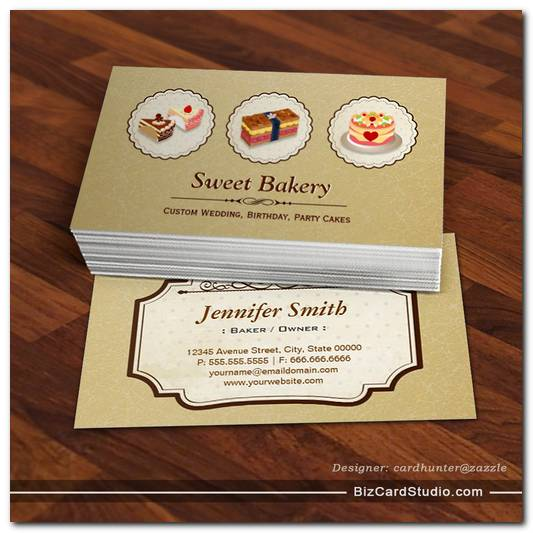 Custom Wedding Birthday Party Cakes Pastry Bakery Business Card Template