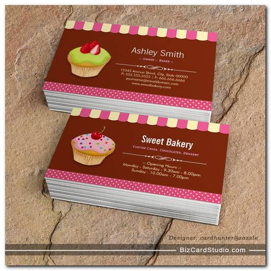 lovely custom cupcakes sweet bakery shop business cards