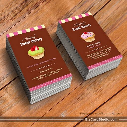 Sweet Bakery Baker - Custom Cupcake Pastry Store Business Card