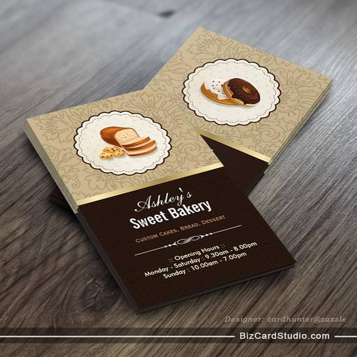 Sweet Bakery Boutique Breads Donut Toast Dessert Business Card Template