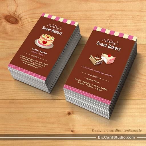 Sweet Bakery Shop - Custom Cakes Chocolates Pastry Business Card Templates