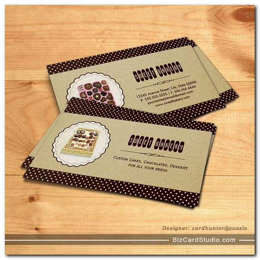 Sweet box of Chocolate - Brown Elegant Cake Bakery Business Card Templates