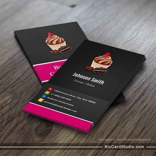 Business card templates studio sweet chocolate cupcake pastry sweet chocolate cupcake pastry bakery business card cheaphphosting Image collections