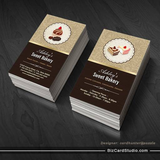 Sweet Chocolates Cupcakes Dessert - Bakery Shop Business Card Templates