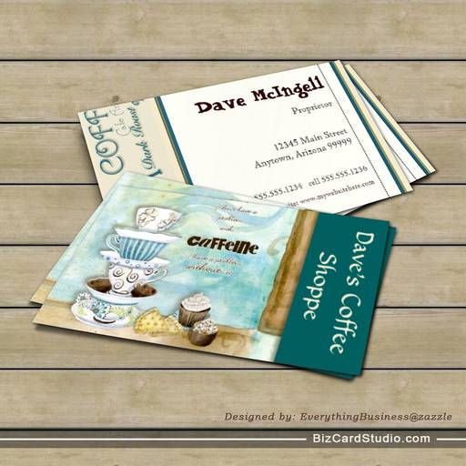 Coffee Shop Cappuccino, Espresso n Latte cards Business Card
