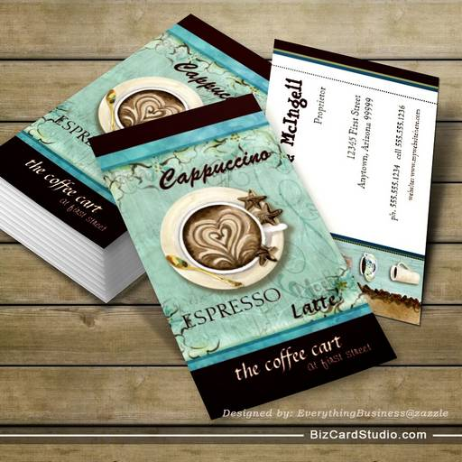 Coffee Shop Cappuccino, Espresso n Latte cards Business Card Template