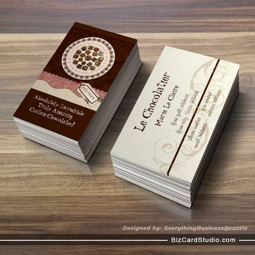 Custom Chocolate Sweet Shoppe Business Cards