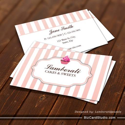 Bakery Pink Cute Elegant Modern Business Card Template