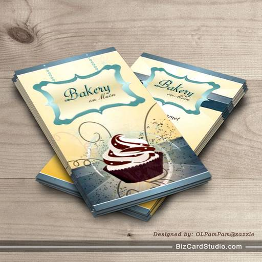 Modern Glowing Bakery & Cupcake Business Card