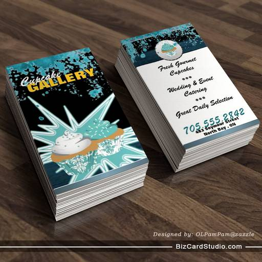Trendy Teal & Black Amazing Cupcake Business Card