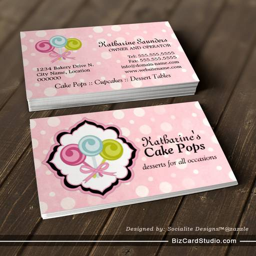 Cake pops bakery business cards for Cake business card ideas