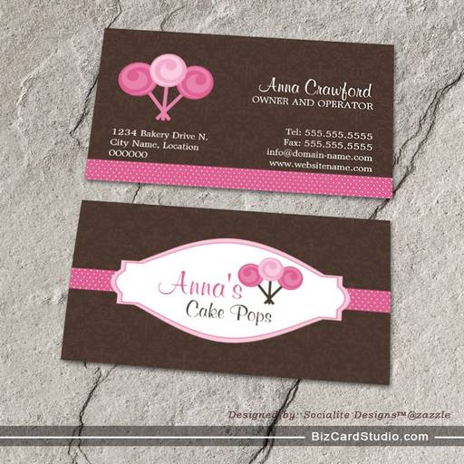 Cake Pops Bakery Scalable Pops Business Cards