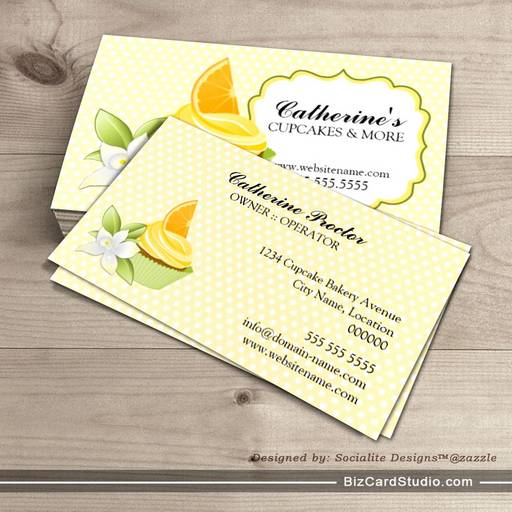Orange Slice Cupcake Bakery Business Cards