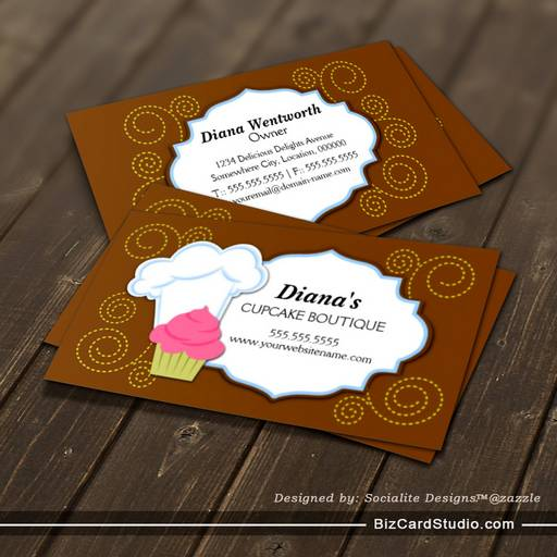 Whimsical Cupcake Swirls Bakery Business Cards