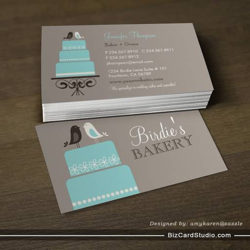 Birds and Cake Business Card Templates