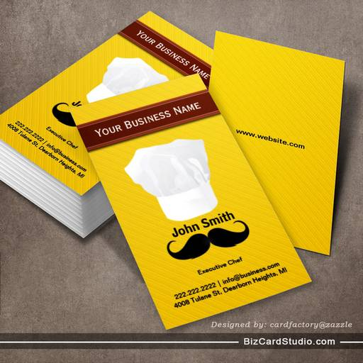 Chef hat and mustache Yellow business card