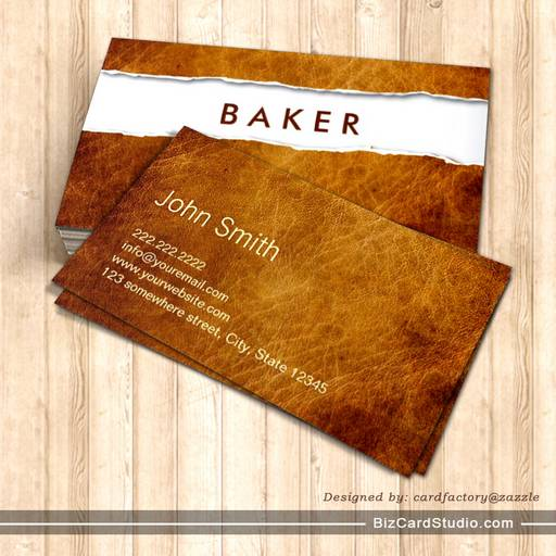 Old Ripped Paper Baker Business Card