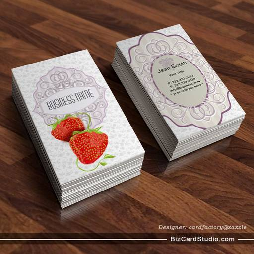 Vintage Floral and Strawberries Business Card