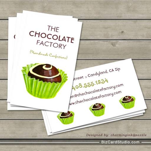 Chocolate Truffle Illustration Business Cards