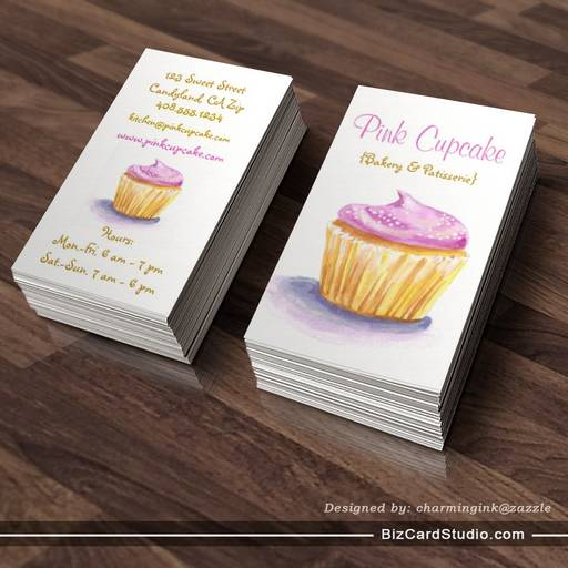 Original Illustration Cupcake Business Cards