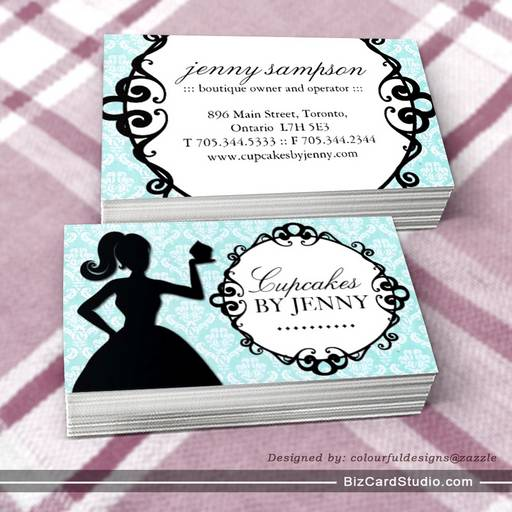 Classy Cupcake Silhouette Business Cards