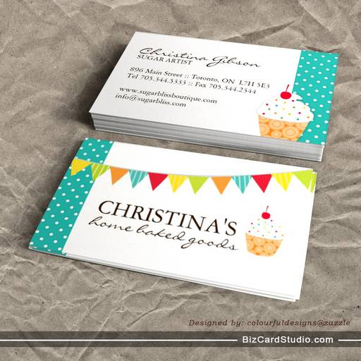 Cupcake artist business cards whimsical cupcake artist business cards colourmoves