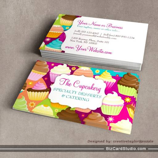 Colorful Cupcakes Business Card Templates