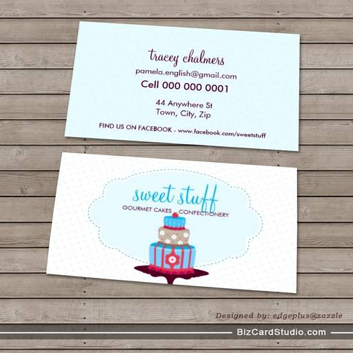 CUTE BUSINESS CARD sweet cake bakery aqua blue red