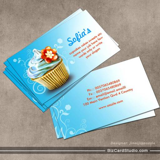Business card templates studio beautiful blue cupcake business cards beautiful blue cupcake business cards accmission Image collections