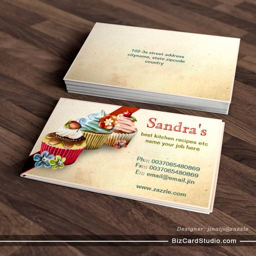 cupcakes business card for bakery