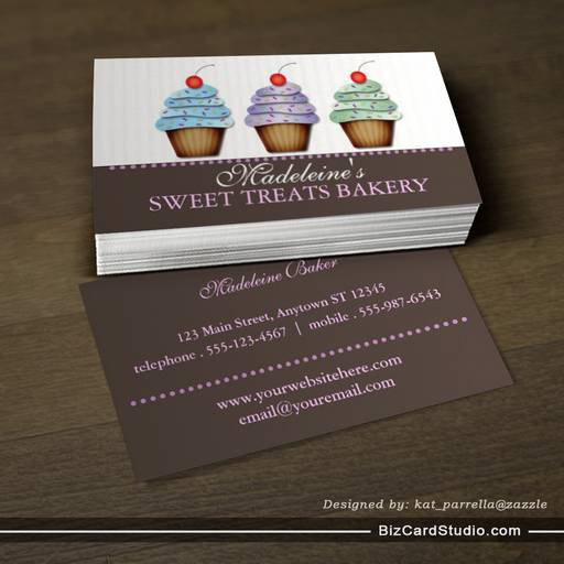 Party Cupcakes Custom Bakery Business Card