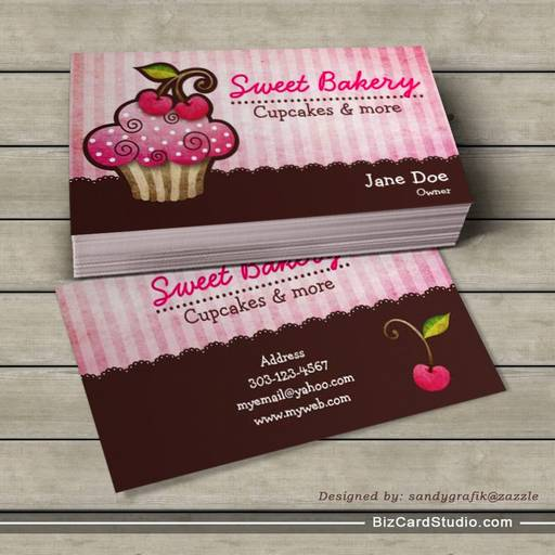 Cherry berry cupcake business cards reheart Gallery