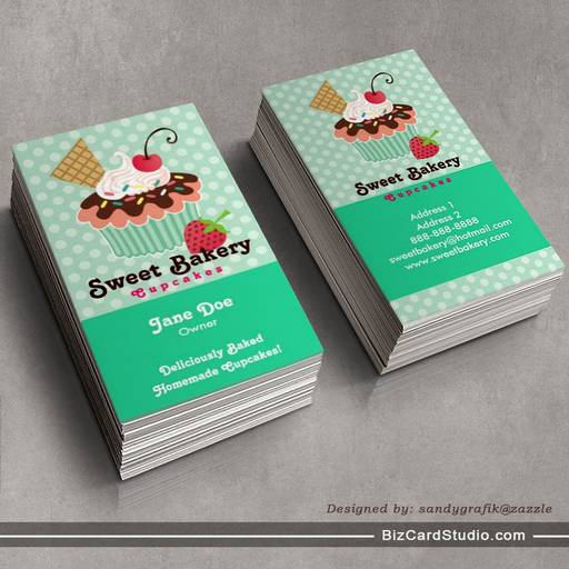 Cherry & Mint Cupcake Business Cards