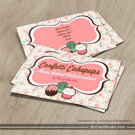 Confetti Cake Pops Business Cards