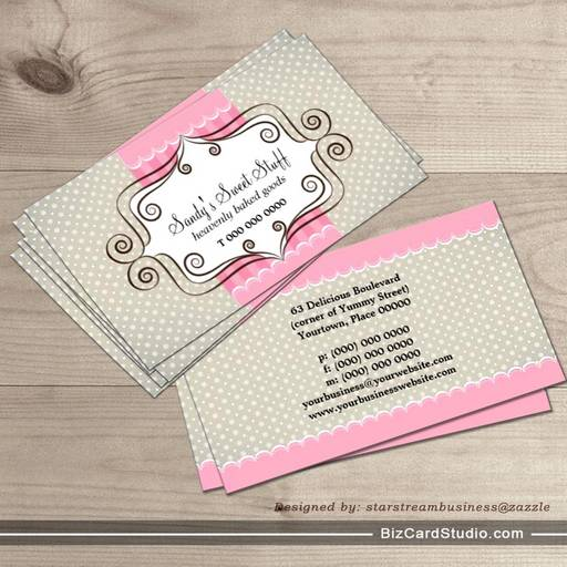 Sweet pink and polka dots business card template colourmoves