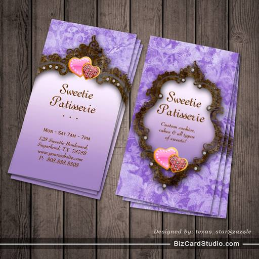 Bakery business card cookies vintage brown purple colourmoves