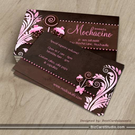 Bakery business cards ideas wq17 advancedmassagebysara excellent cake pops business card bakery pink brown vintage rv68 cheaphphosting Choice Image